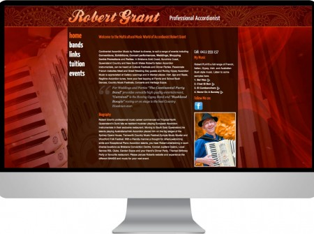 Robert Grant is a Sunshine Coast musician whose custom wordpress web design fetures audio player and gig calendar