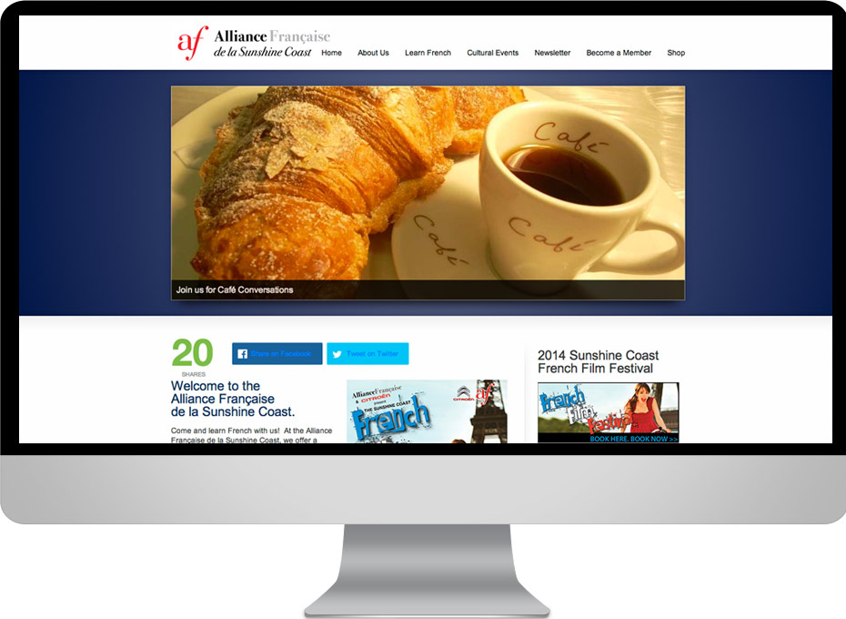 Alliance Francaise Sunshine Coast Responsive Woo Commerce web site design developer