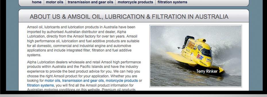 Queensland and Australia website designed for Alpha Lubrication the Gold Coast oil distribution business for Amsoil Oils
