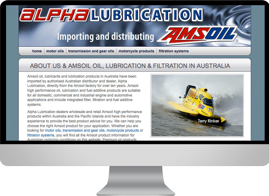 Queensland and Australia website designed for Alpha Lubrication the Gold Coast oil distribution business for Amsoil Oils