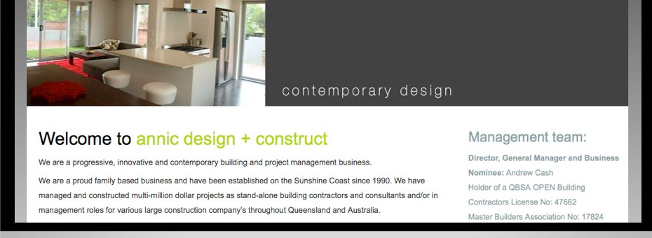 With projects on throughout Queensland Annic is a Sunshine Coast design and construction company website