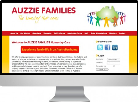 Auzzie Families is a Sydney Homestay for student business.  An  education sector wordpress website development design project