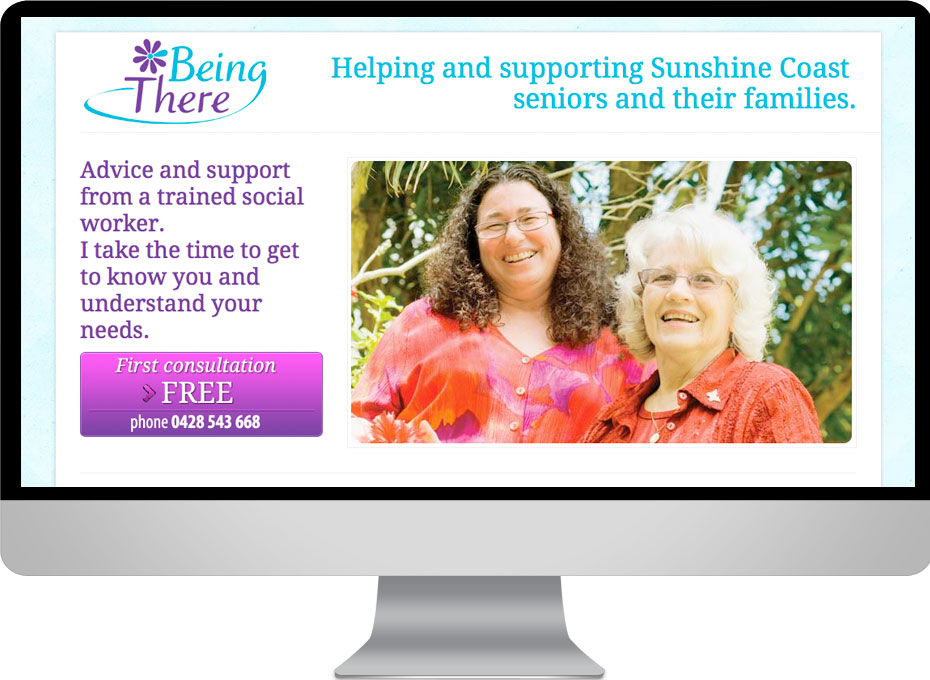 Website and graphic design by working planet for Being There, a Sunshine Coast seniors service