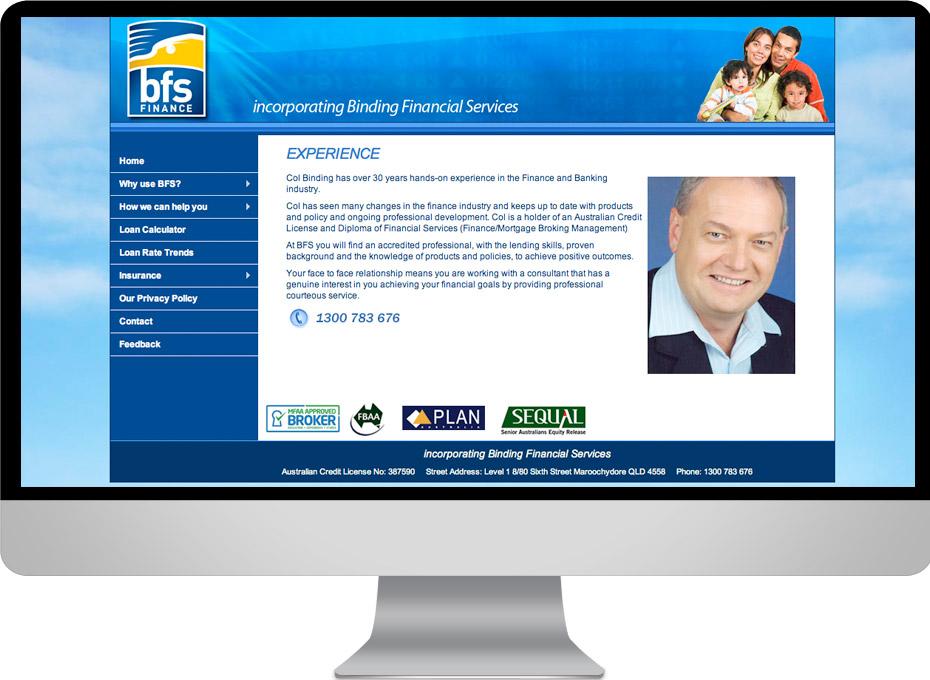 BFS finance consultant Sunshine Coast loans advice website designer and developer