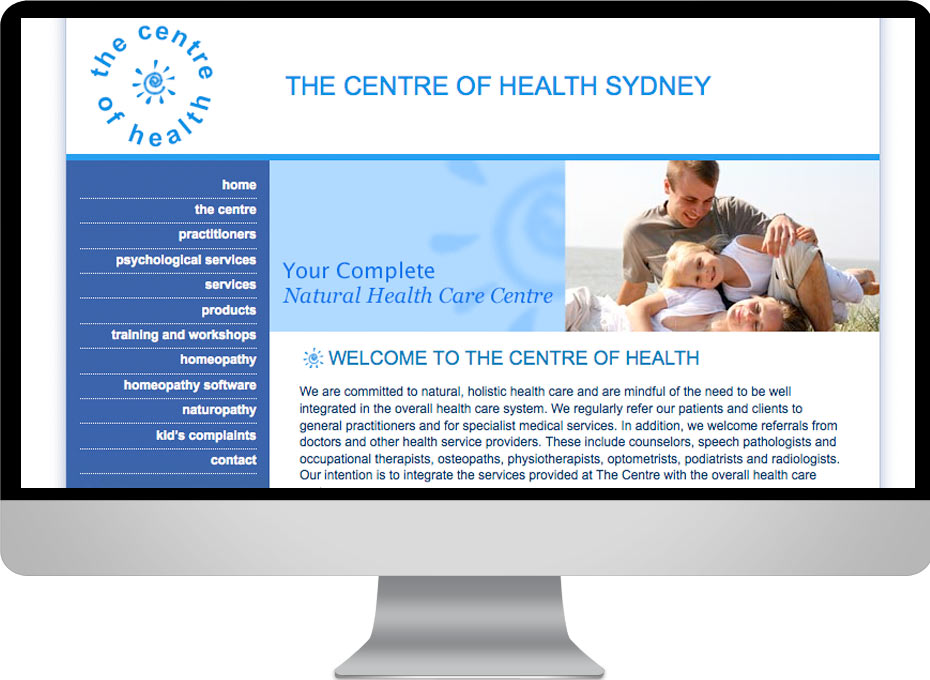 Natural medicine solutions website designed for Centre of Health Sydney homeopath and other modalities clinic