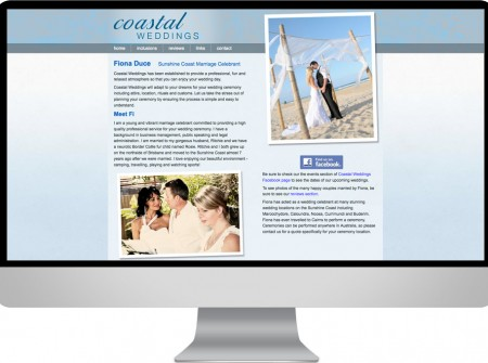Coastal Weddings Sunshine Coast website graphic seo design project for marriage celebrants