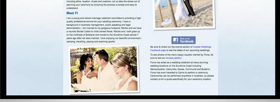 Coastal Weddings Sunshine Coast website graphic seo design project for marriage celebrants