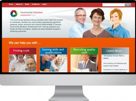 Employment Australia wordpress website design development for community solutions sunshine coast