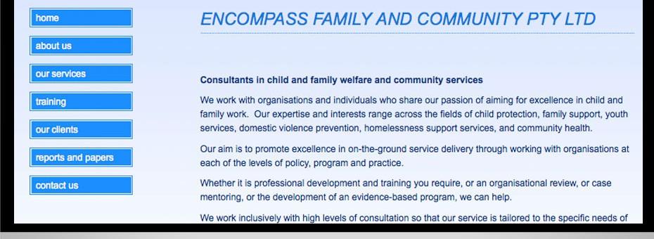 Encompass Brisbane community social work interactive website seo design queensland