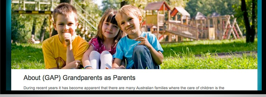 Grandparents as Parents a community website for a non-profit orgnaisation based on the sunshine coast includes design and media graphics