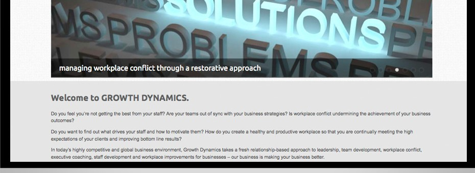 Growth Dynamics is a Brisbane Consultant specialising in Change management with a website design using a wordpress slideshow by Working Planet