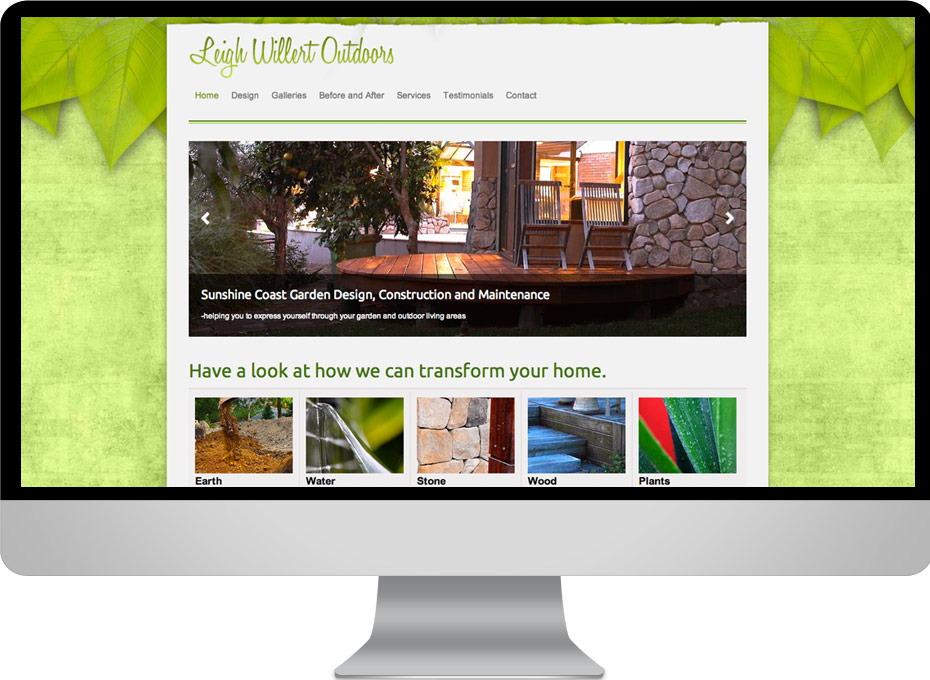 leigh willert sunshine coast landscape design responsive website