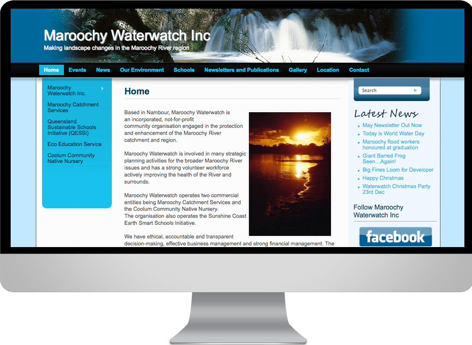 Maroochy Waterwatch Environmental organisation using website interface designed by working Planet incorporating a custom wordpress theme