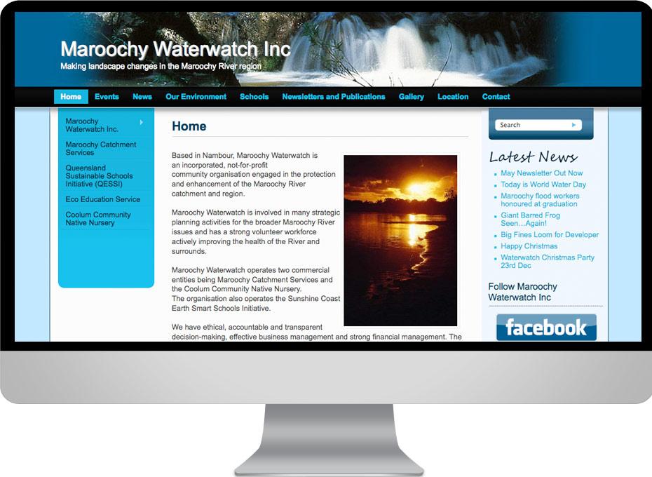 Maroochy Waterwatch Environmental organisation using website interface designed by working Planet incorporating a custom wordpress theme