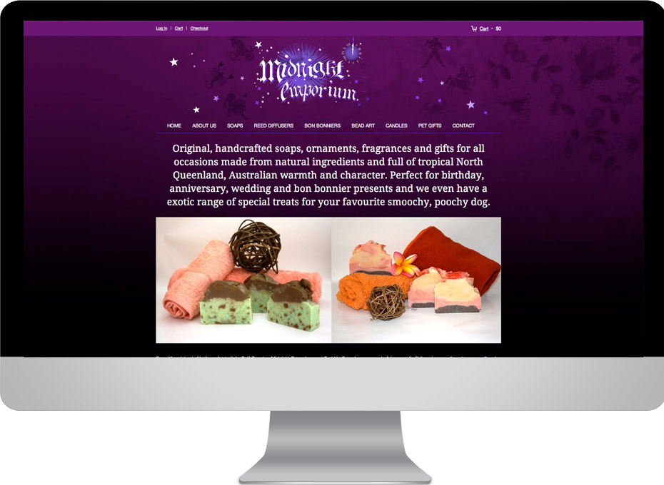 Online store wordpress shopping cart site design for North Queensland gift soap emporium in karumba