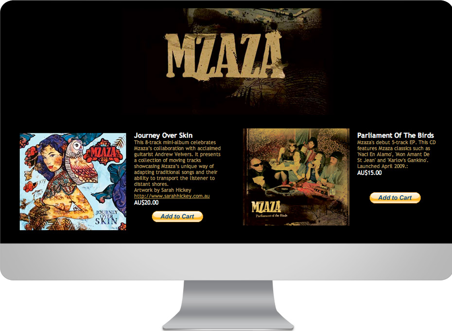 Website designer sunshine coast for Mzaza, Brisbane based world music band