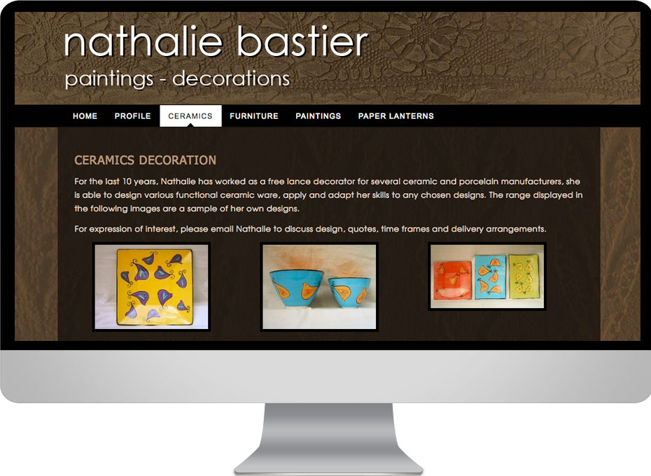 Maleny based Sunshine Coast  artist Nathalie Bastier designed this custom wordpress website built by working planet