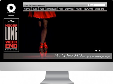 An arts and  entertainment festival website design project for the Noosa Long Weekend