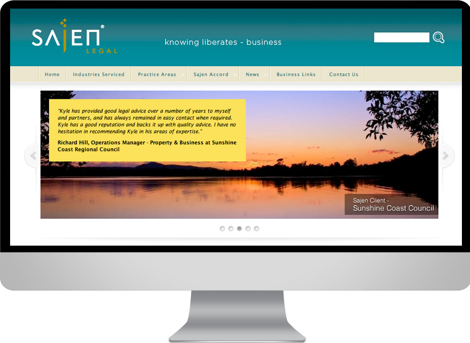 Sajen Legal is Sunshine Coast legal firm with a Working Planet designed custom Wordpress website