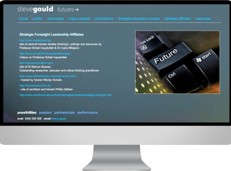 Steve Gould  is a sunshine Coast based futurist and futures consultant and sought our web development design services