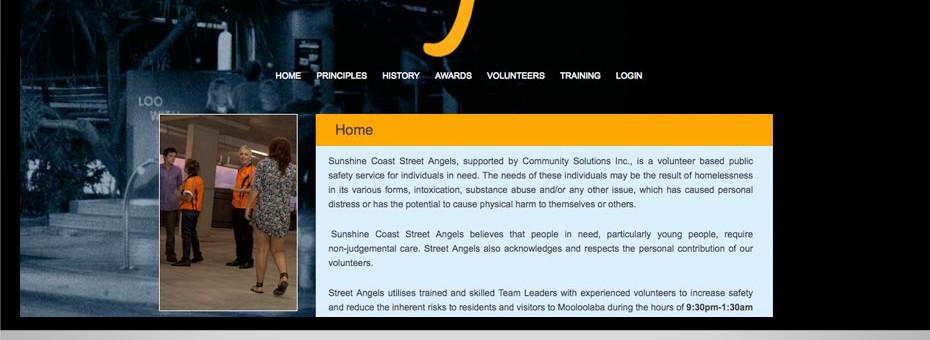 Street Angels community website Sunshine Coast youth program wordpress development