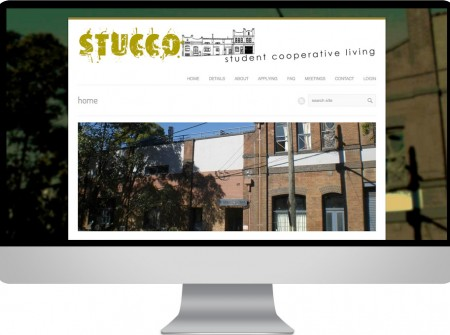Stucco Student Co-Operative in Newtown Sydney website using wordpress design and working planet graphics and media development