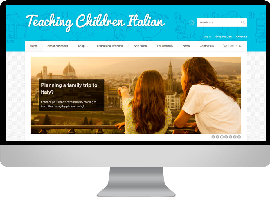 Teaching children italian educational resources for teachers and parents. An e-commerce wordpress web design for the Italian School Committee