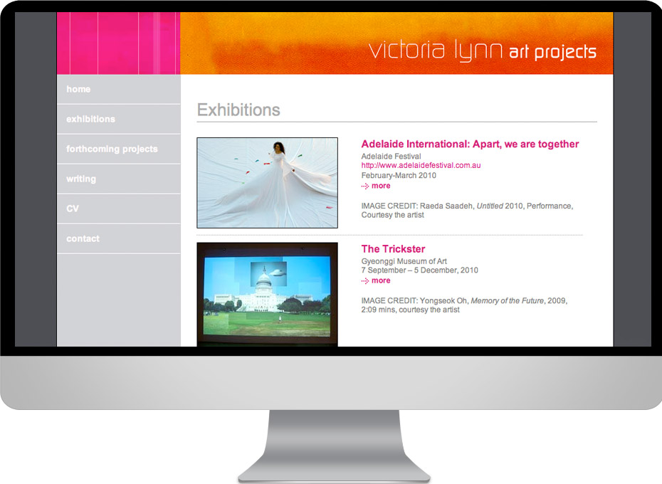 Melbourne based curator and art gallery director Victoria Lynn  managing artists projects with web designer working planet
