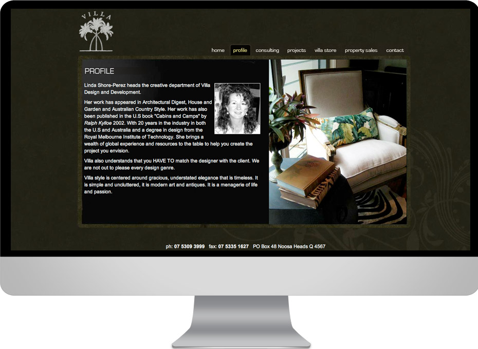 Interior design business web development project for Villa Design sunshine coast