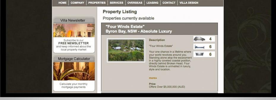 Sunshine coast based real estate web sales business Villa design is an international self managedwebsite