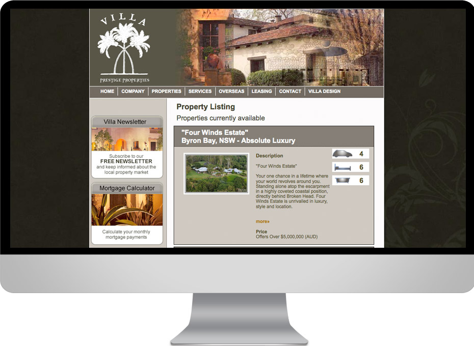 Sunshine coast based real estate web sales business Villa design is an international self managedwebsite