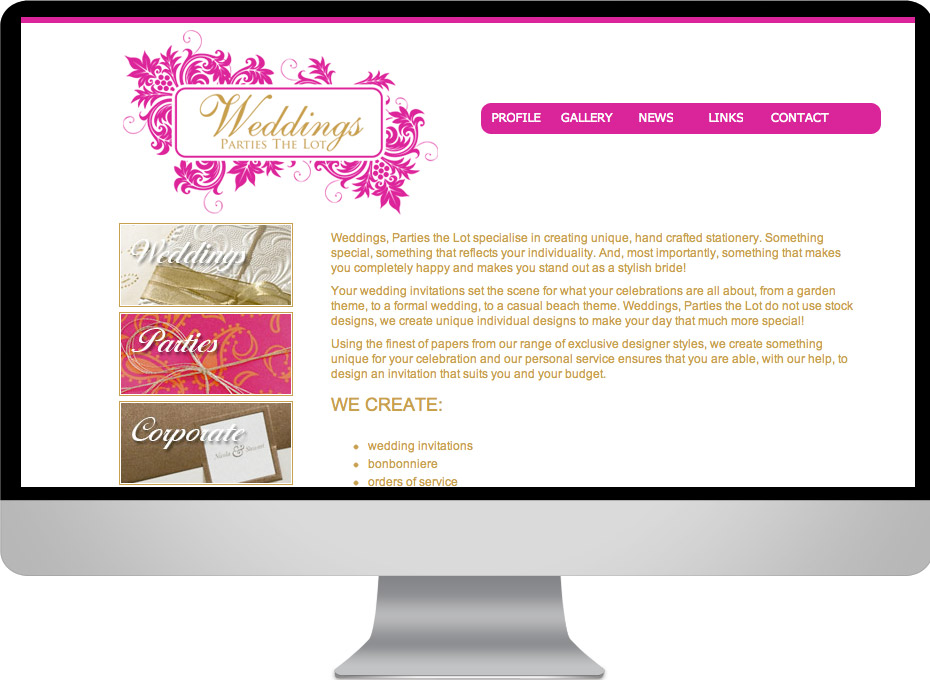 The graphic web site stationery design project for the sunshine coast based business Weddings Parties the lot