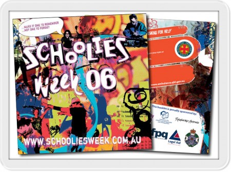 queensland book design graphics development print for 2006 schoolies week