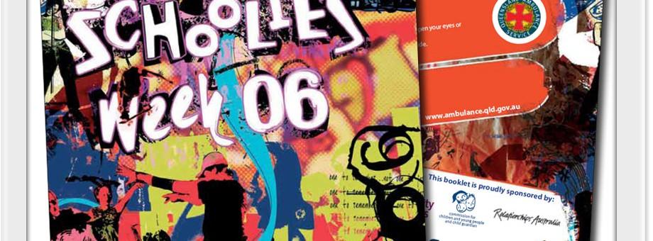 queensland book design graphics development print for 2006 schoolies week