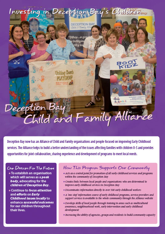 deception bay design graphics print brochure for child family alliance