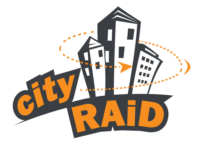 event logo graphic design for city raid sports