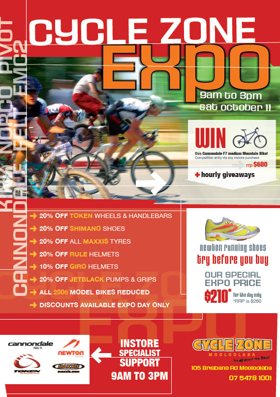 poster design graphics print publication for cyclezone sunshine coast