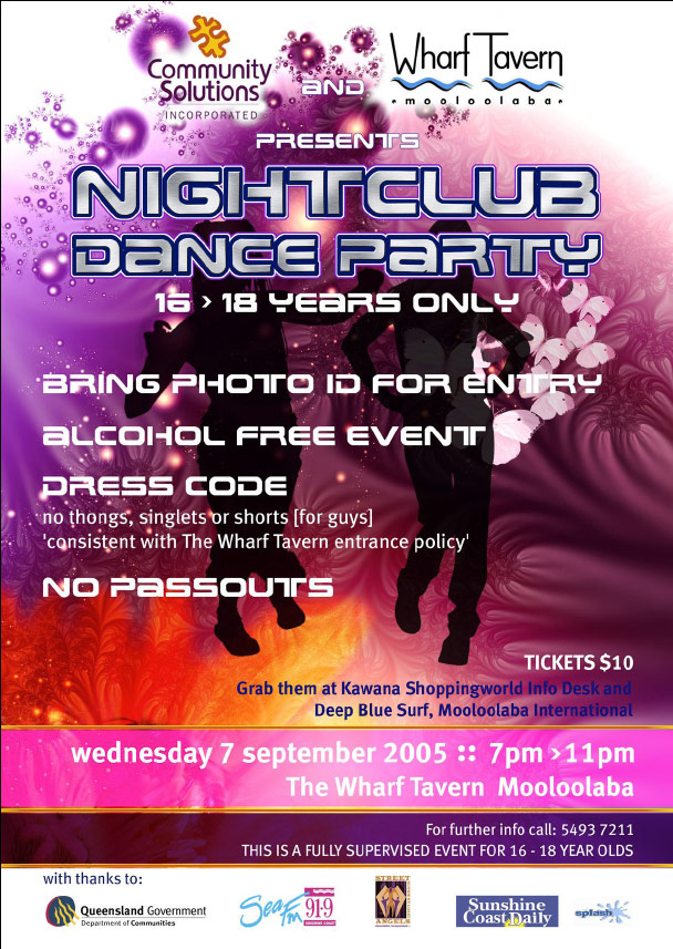 event design graphics print project for dance party sunshine coast