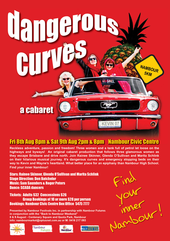nambour theatre festival graphic design printing for dangerous curves
