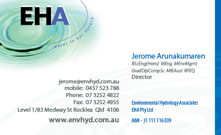 business card print design brisbane for eha hydrology