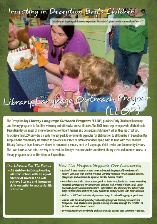 design graphics print brochure for library language outreach deception bay