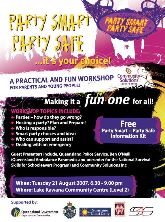print sunshine coast project graphic design for party smart party safe