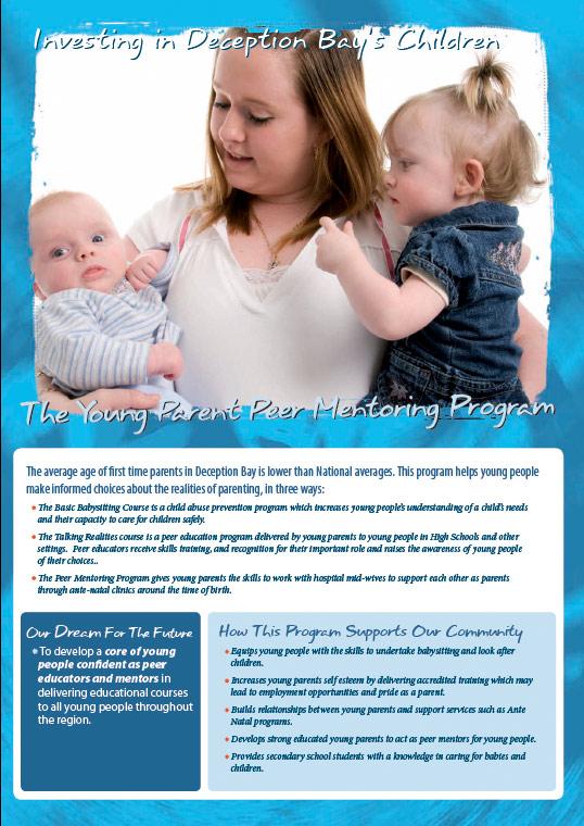 design graphics print brochure for peer mentoring deception bay