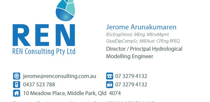 print design brisbane ren hydrology business card