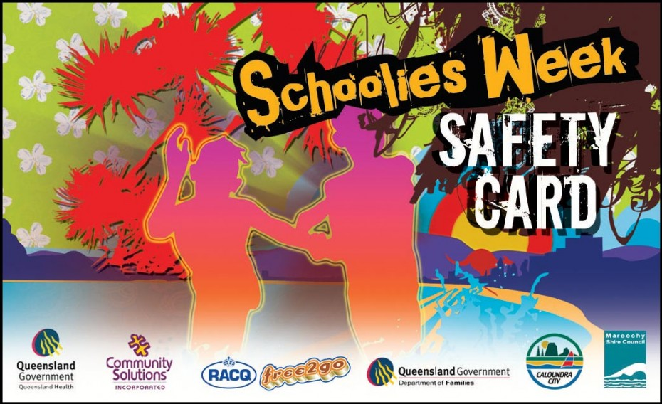 sunshine coast schoolies safety card 2007 business card
