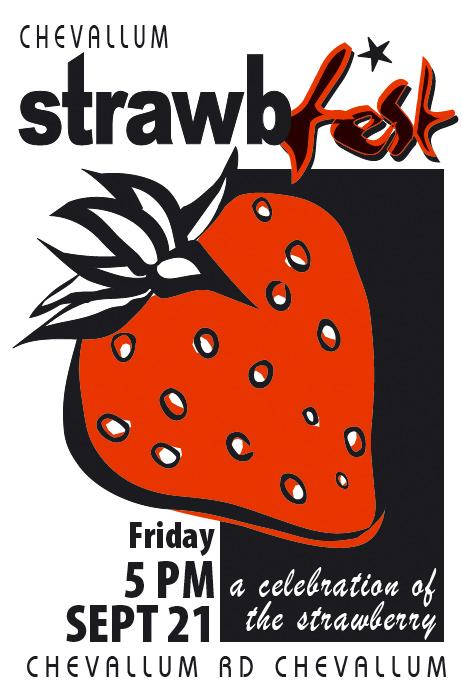 chevallum art design graphics posters for strawbfest sunshine coast