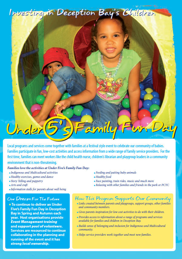 deception bay design graphics print brochure for under 5s day