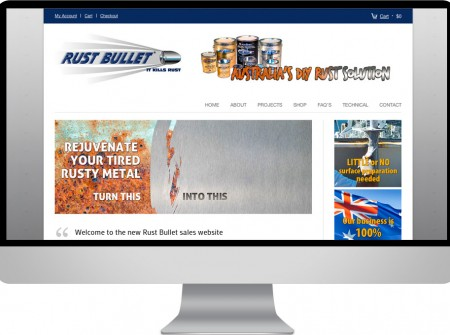 Woo e-commerce responsive website for Rust bullet McBerns Australia