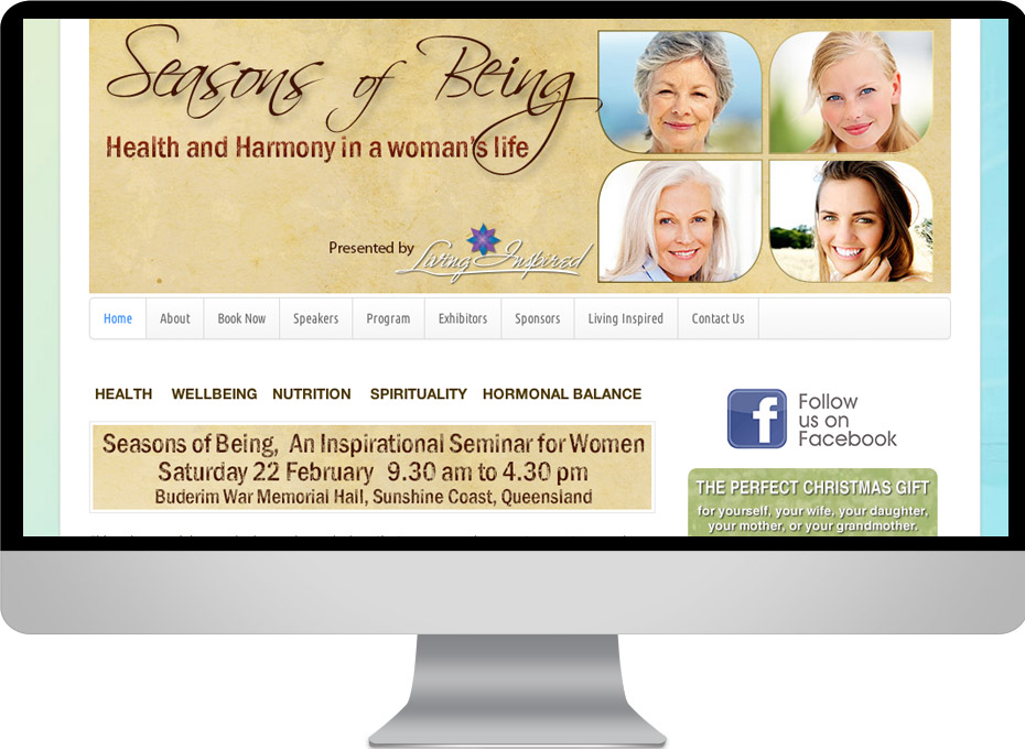 Wordpress website for Seasons of Being Buderim womens seminar