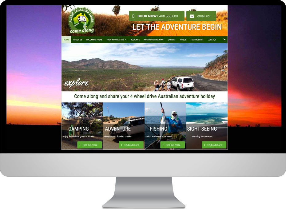 aussie tagalong tours to cape york adventure ecommerce responsive website